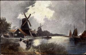 Künstler Ak Landschaft mit Windmühle, Boote