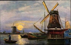 Foto Ak Windmühlen, Mondschein, Boote
