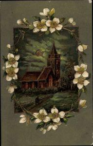 Präge Litho Glückwünsche, Kirche bei Nacht, weiße Blüten