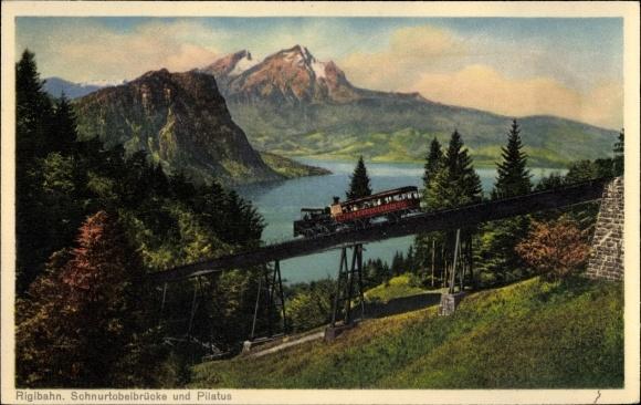 Ak Schweiz, Rigibahn, Schnurtobelbrücke, Pilatus, Zahnradbahn