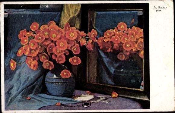 Künstler Ak Stagura, Albert, Mohnblumen in einer Vase, Spiegel