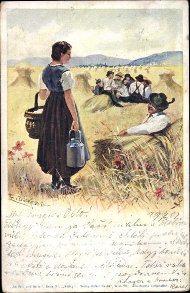 Künstler Ak Döcker, E., Feldarbeiter bei der Mittagspause