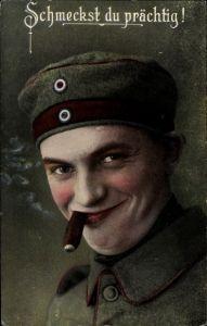Ak Schmeckst du prächtig, Soldat mit Zigarre