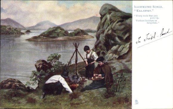 Künstler Ak Killarney Irland, Illustrated Songs, Familie am Feuer