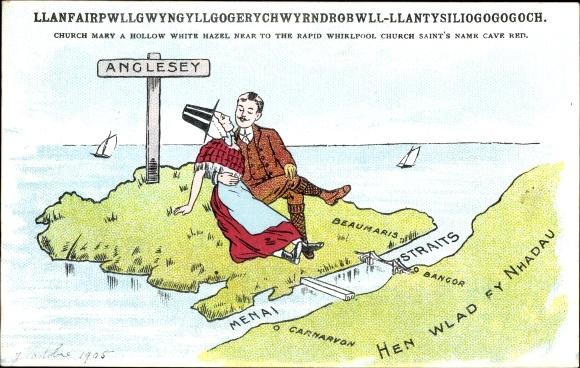 Künstler Ak Llanfairpwllgwyngyllgogerychwyrndrobwllllantysiliogogogoch Anglesey Wales