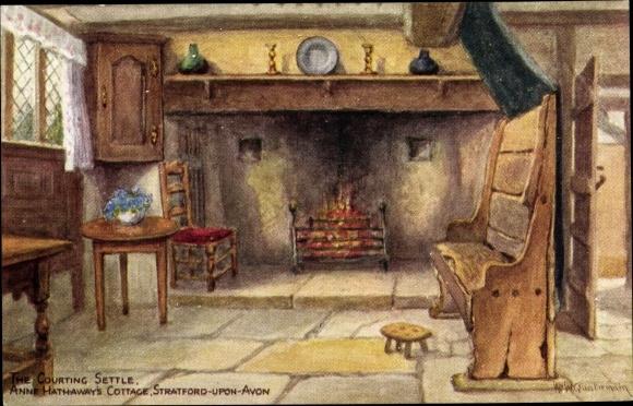 Künstler Ak Stratford on Avon West Midlands, The Courting Settle, Anne Hathaway's Cottage