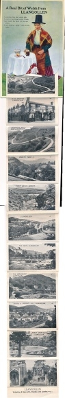 Leporello Ak Llangollen Wales, Bridge and Barber's Hill, Horse Shoe Falls, Dame, wallisische Tracht