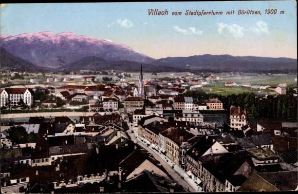 Ak Villach in Kärnten, Totale mit Stadtpfarrturm und Görlitzen
