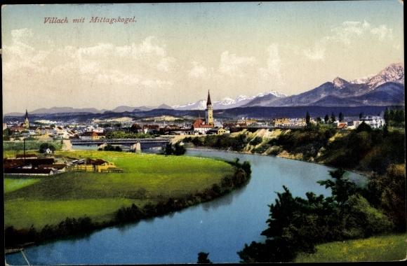 Ak Villach in Kärnten, Panorama mit Mittagskogel