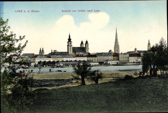 Ak Linz in Oberösterreich, Ansicht von Urfahr nach Linz