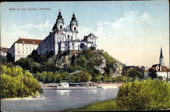 Ak Melk an der Donau in Niederösterreich, Blick auf die Wachau