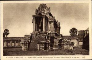 Ak Kambodscha, Angkor Wat, Edicule, dit bibliotheque de l'angle Nord Ouest de la cour du 1er etage