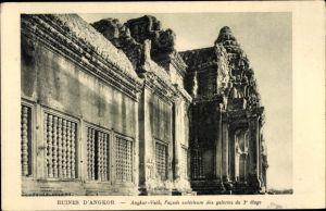 Ak Kambodscha, Angkor Wat, Facade exterieure des galeries du 3e etage