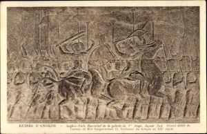 Ak Kambodscha, Angkor Wat, Bas relief de la galerie du 1er etage, facade sud, Grand defile