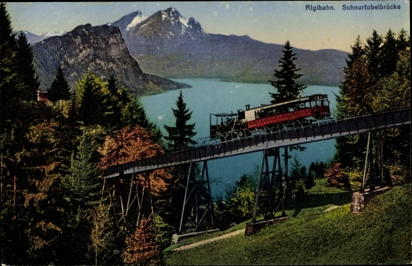 Ak Kanton Schwyz, Rigibahn, Schnurtobelbrücke