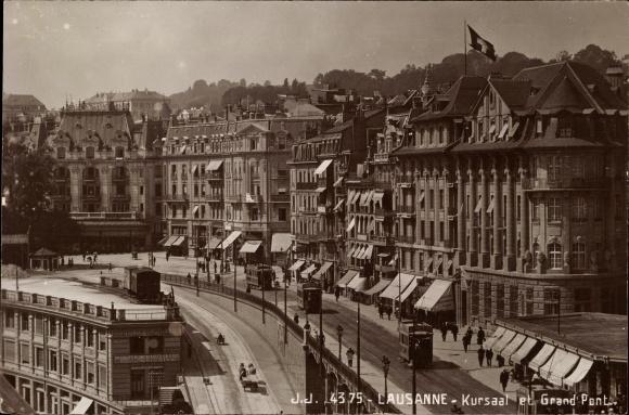 Ak Romanel sur Lausanne Kt. Waadt Schweiz, Kursaal et Grand Pont, tramway