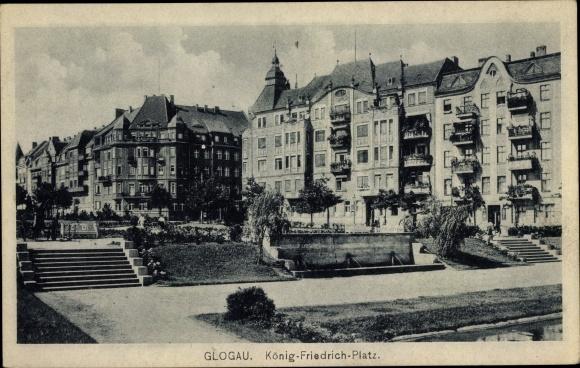 Ak Głogów Glogau Schlesien, König Friedrich Platz, Häuser