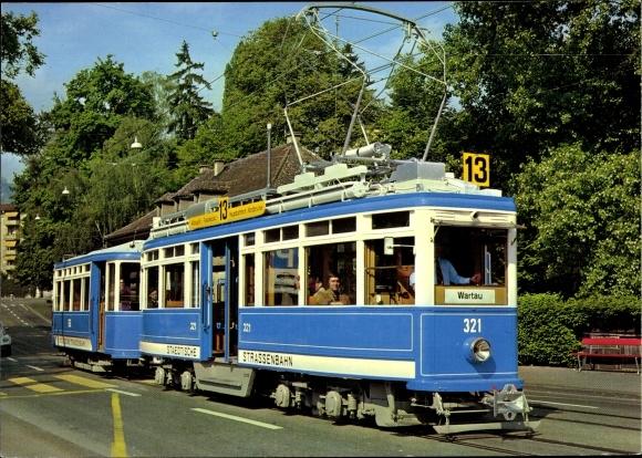 Ak Zürich Stadt Schweiz, Verkehrsbetriebe, Straßenbahn 13 nach Wartau, Motorwagen Ce 4/4 Nr. 321 0