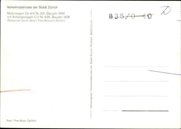 Ak Zürich Stadt Schweiz, Verkehrsbetriebe, Straßenbahn 13 nach Wartau, Motorwagen Ce 4/4 Nr. 321 1