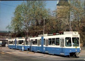 Ak Zürich Stadt Schweiz, Verkehrsbetriebe, Straßenbahn Nr. 14 nach Seebach, Gelenkwagenzug Tram 2000