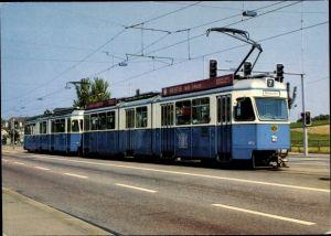 Ak Zürich Stadt Schweiz, Verkehrsbetriebe, Straßenbahn Nr. 7 nach Wollishofen, Gelenkwagenzug