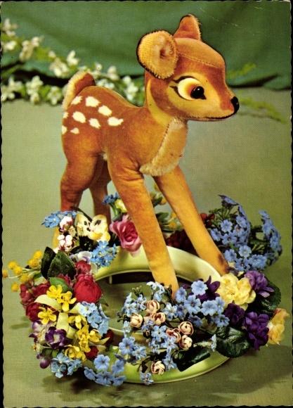 Ak Steiff Bambi, Stofftier Reh, Disney, Blumenkranz