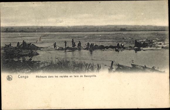 Ak Banzyville Demokratische Republik Kongo Zaire, Pecheurs dans les rapides