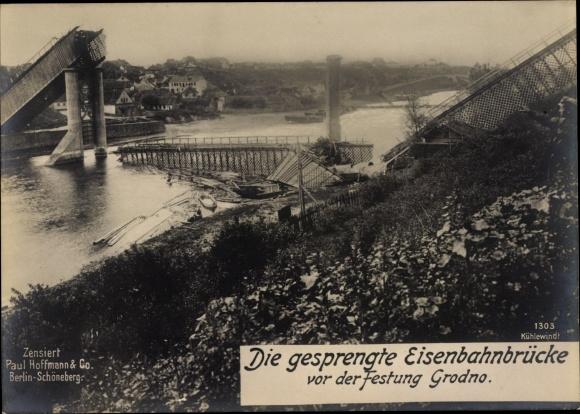 Riesen Ak Hrodna Grodno Weißrussland, Gesprengte Eisenbahnbrücke vor der Festung