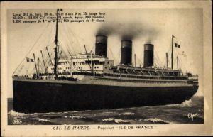 Ak Dampfer Ile de France, CGT, French Line