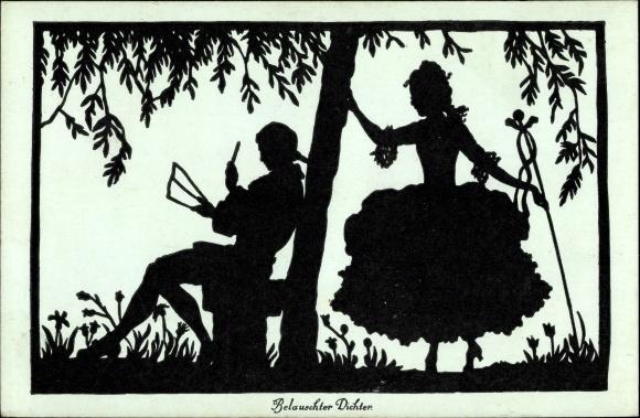 Scherenschnitt Ak Schmidt, Gerda Luise, Frau, Mann unter einem Baum