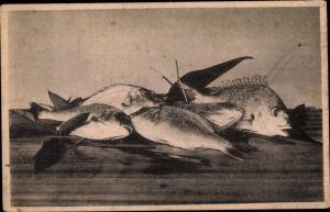 Künstler Ak Japan, Fische auf einem Tisch