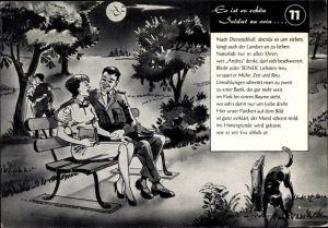 Künstler Ak Es ist so schön Soldat zu sein, Soldat mit Frau auf einer Sitzbank