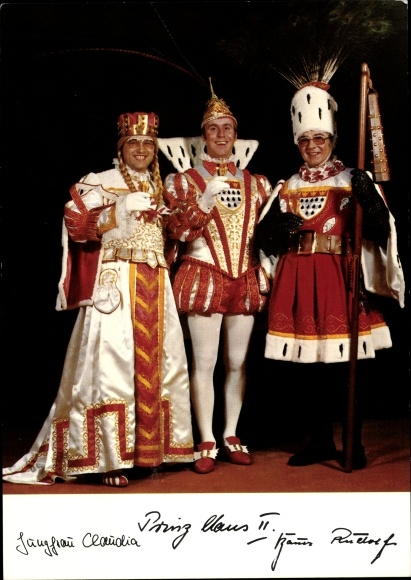 Ak Kölner Karneval 1973, Prinz Claus II, Kölner Bauer Rudolf, Kölner Jungfrau Claudia