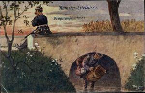 Künstler Ak Thiele, Arthur, Hamster Erlebnisse, Belagerungszustand, Mann unter Brücke