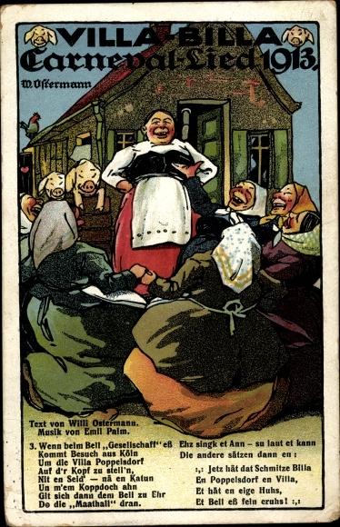 Lied Ak Villa Billa, Karneval Lied 1913, Willi Ostermann