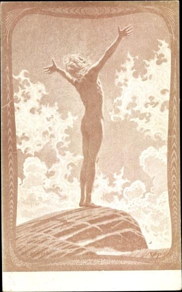 Jugendstil Künstler Ak Fidus, Lichtgebet, Farbige Steinzeichnung