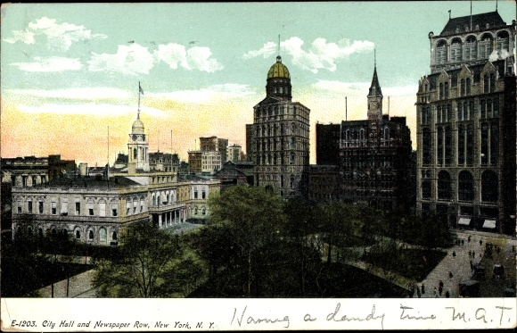 Ak New York City USA, City Hall, Newspaper Row