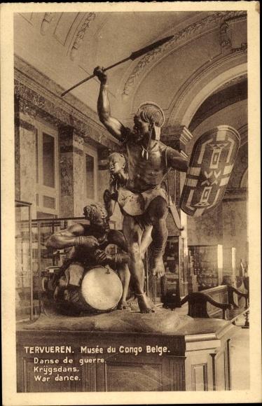 Ak Tervueren Demokratische Republik Kongo Zaire, Musée du Congo Belge, Danse de guerre