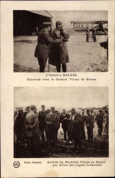 Ak Málaga Andalusien Spanien, Marechal Petain, General Primo de Riviera