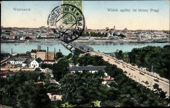 Ak Warszawa Warschau Polen, Widok ogolny od strony Pragi
