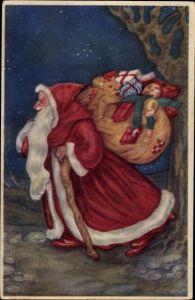 Künstler Ak Frohe Weihnachten, Weihnachtsmann mit Geschenken