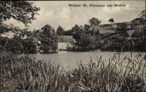Ak St. Nikolaus Großrosseln Saarland, Weiher mit Mühle