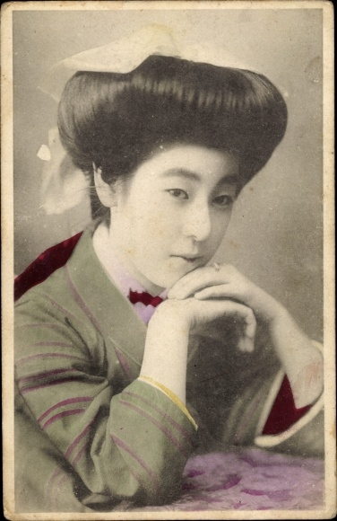 Ak Portrait einer Japanerin im Kimono