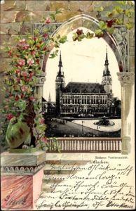 Präge Passepartout Ak Aachen in Nordrhein Westfalen, Rathaus, Vorderansicht, Blumen
