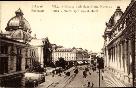 Ak București Bukarest Rumänien, Calea Victoriei spre Grand Hotel