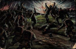 Künstler Ak Schlachtszene, deutsche Soldaten, I. WK