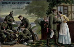 Ak Morgen marschieren wir, Soldaten, Frau, RKL, I. WK