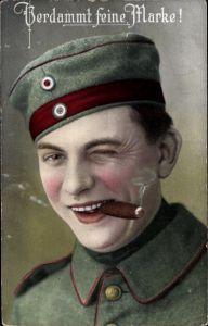 Ak Verdammt feine marke, Soldat raucht Zigarre, RKL 2608 6