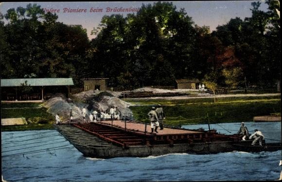Ak Unsere Pioniere beim Brückenbau, Ponton Brücke