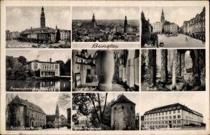 Ak Bolesławiec Bunzlau Schlesien, Markt mit Rathaus, Grotte, Der große Topf, Deutsche Oberschule